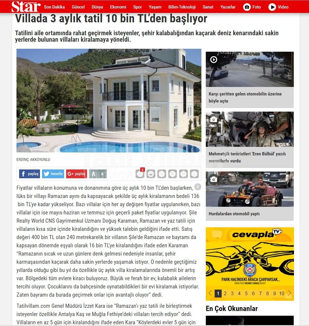 TatilVillam Star gazetesi ekonomi köşesinde