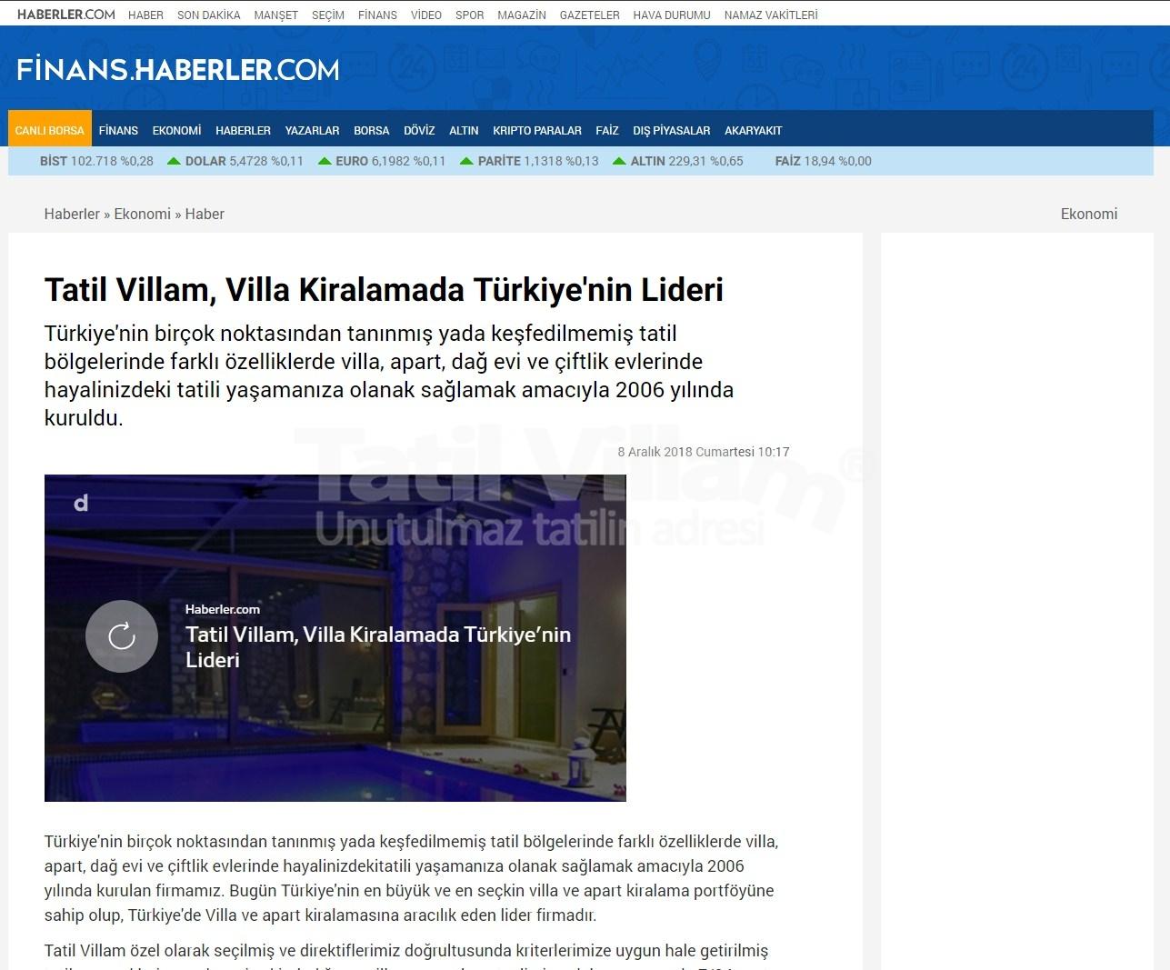 TatilVillam Türkiye' nin en popüler haber sitelerinden haberler.com da yer aldı